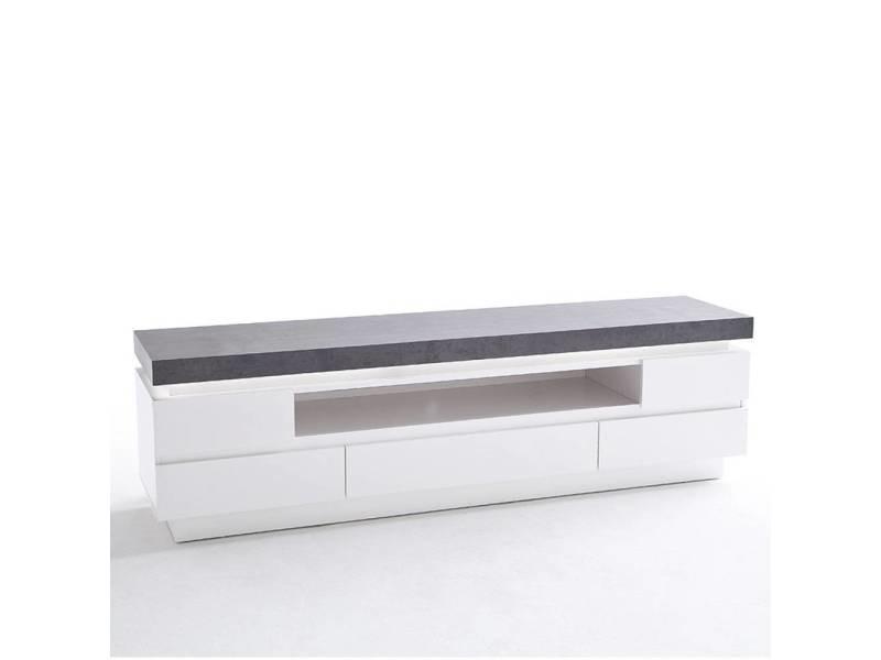 Meuble Tv Design Atlanta Laque Blanc Mat Et Imitation Beton 5 Tiroirs Led Inclus 20100878448 Vente De Meuble Tv Conforama