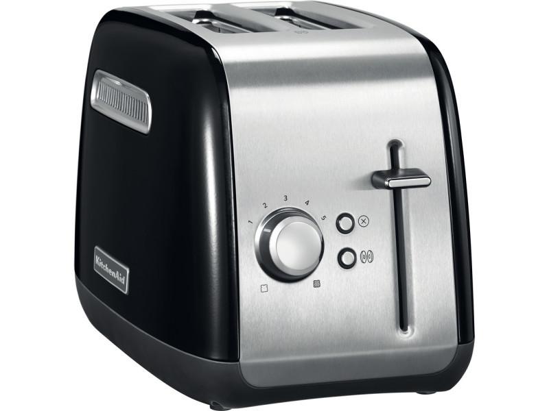 Grille pain avec 2 fentes 1100w noir onyx argent