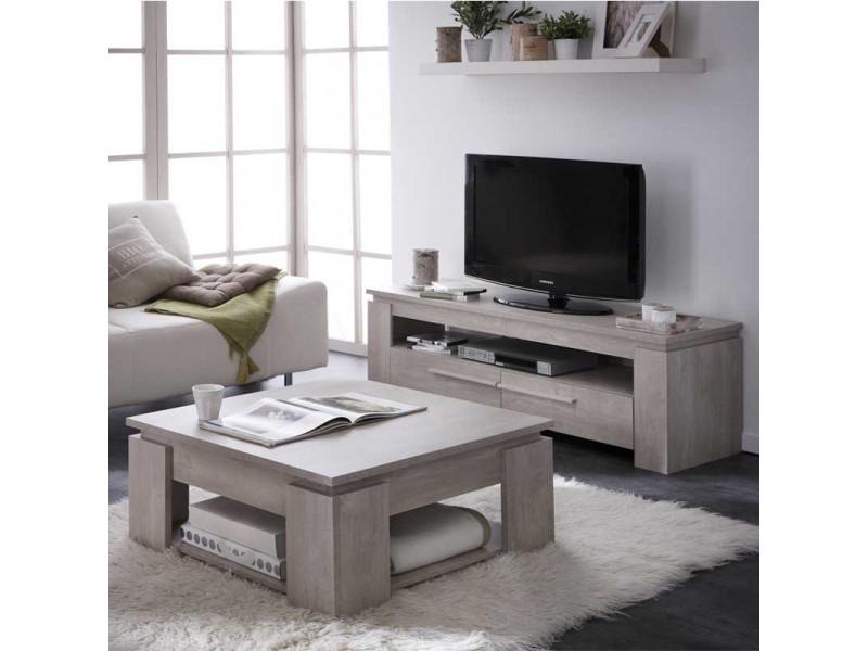 Table basse carrée chêne beige - toulouse - l 80 x l 80 x h 36 cm