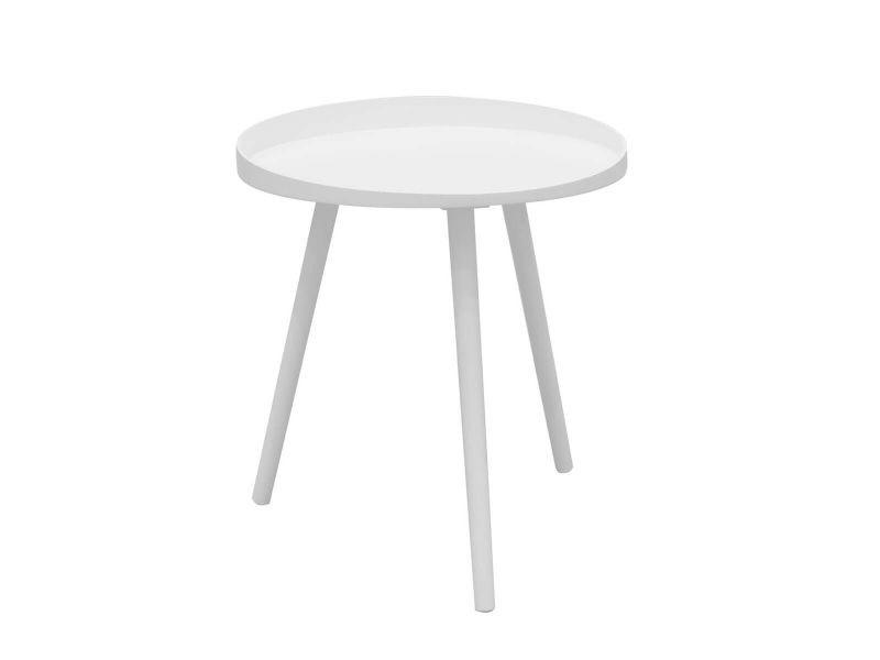 Lalin - table d'appoint ronde diam. 48cm coloris blanc