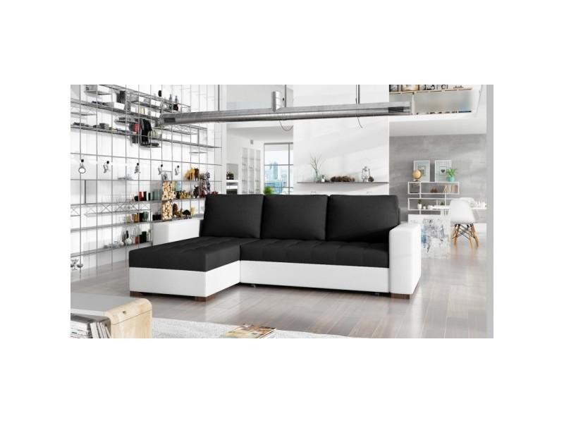 Canapé d'angle convertible réversible design newark - tissu noir/ pu blanc