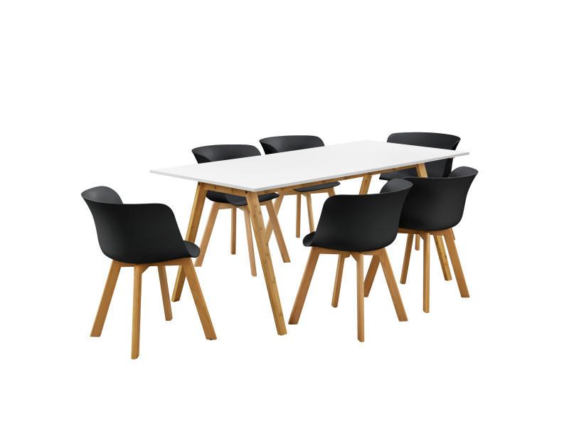 EncasaR Table Manger Avec 6 Chaises Blanc Noir 180x80 De Cuisine
