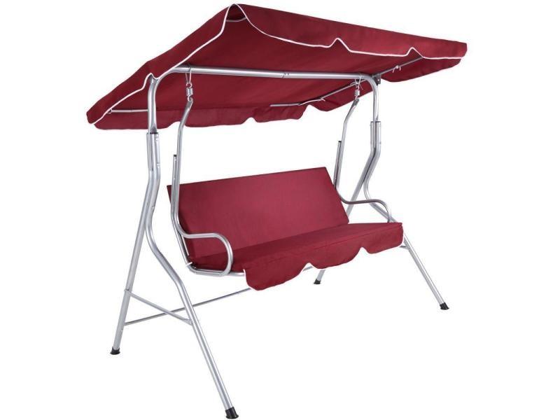 Balancelle sur pied assise fauteuil meuble jardin 3 personnes rouge bordeaux helloshop26 2208142