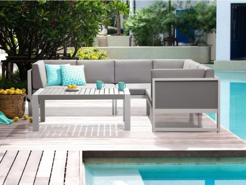 Salon de jardin en aluminium blanc et gris vinci 43900