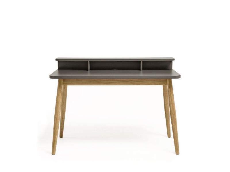 bureau design scandinave ch ne et laque farsta couleur gris ch ne naturel 198005040014. Black Bedroom Furniture Sets. Home Design Ideas