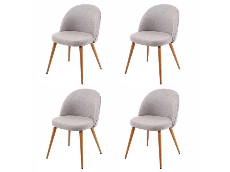 4x chaise de salle à manger hwc-d53, fauteuil, style rétro années 50, en tissu ~ gris clair