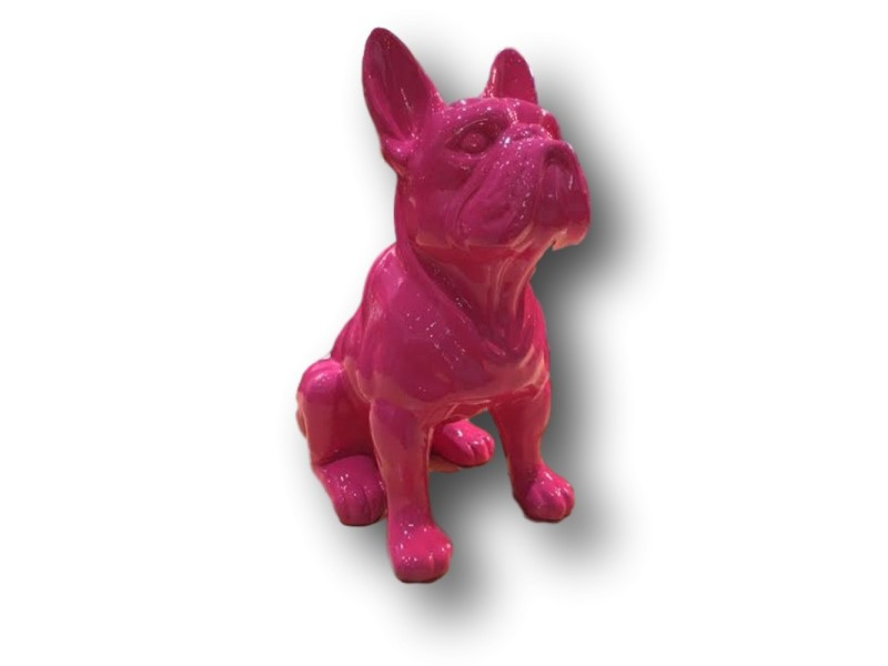 statue sculpture resine bouledogue francais assis 30 cm fushia conforama. Black Bedroom Furniture Sets. Home Design Ideas