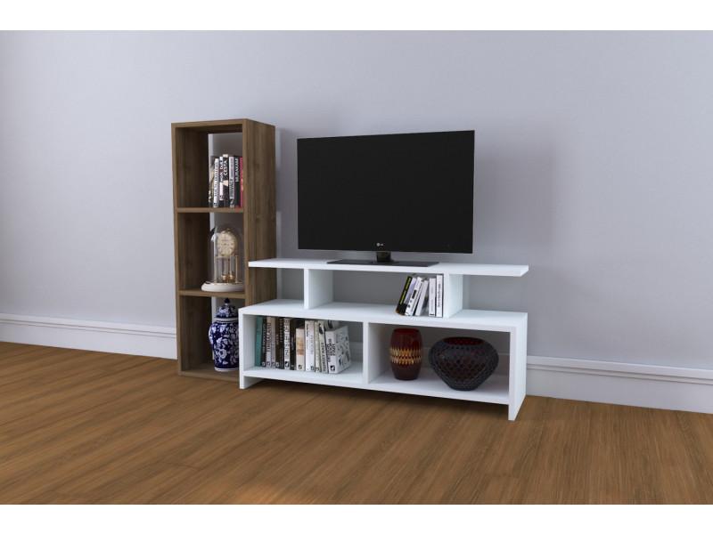 Meuble tv design cinar motif bois noyer marron clair