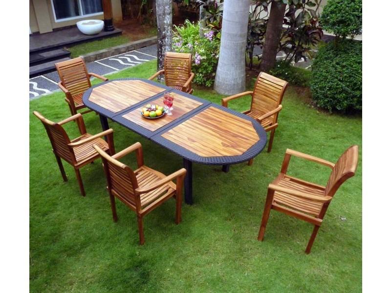 Salon pour jardin en teck huilé et résine tressée 6 fauteuils ...