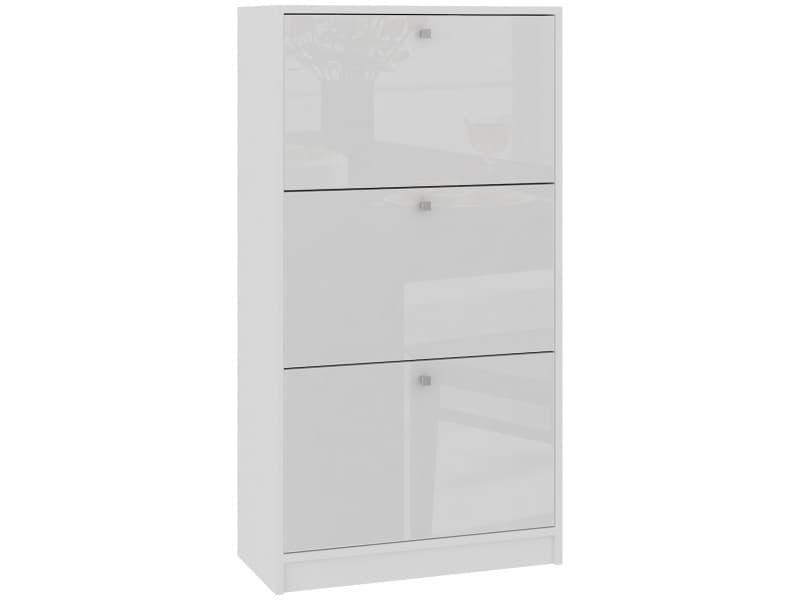 Noki | meuble d'entrée rangement chaussures 112.5x60x28.5cm | 3 portes | armoire range-chaussures - blanc laqué