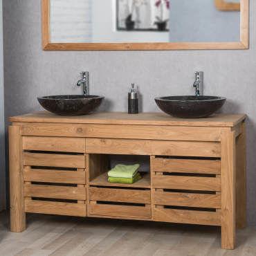 Meuble de salle de bain en teck zen double vasque 145cm - Meuble vasque salle de bain conforama ...