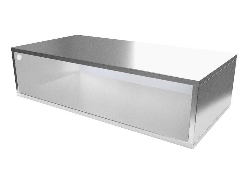 Cube de rangement bois 100x50 cm gris aluminium CUBE100-GA