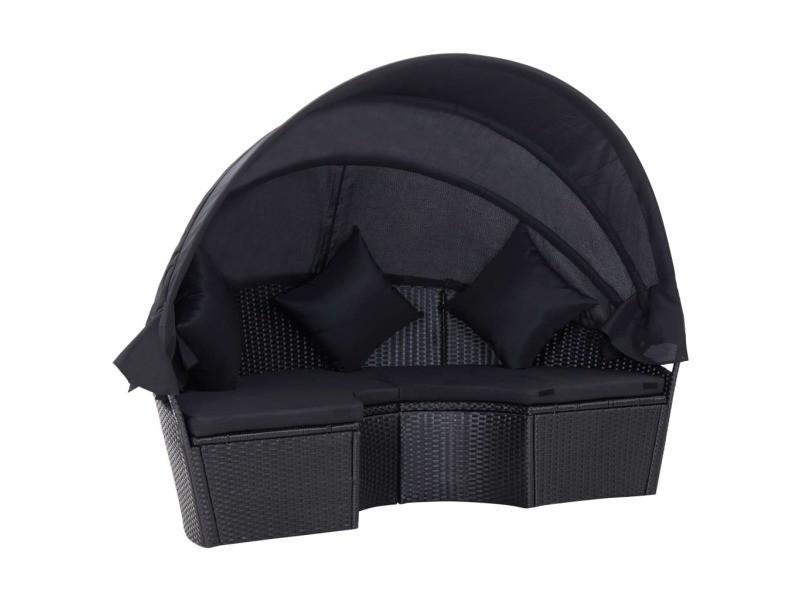 Icaverne - lits d'extérieur ligne chaise longue de jardin avec auvent résine tressée noir