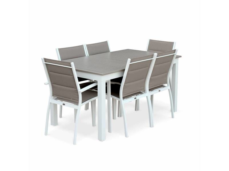Salon de jardin table extensible - chicago 210 taupe - table en ...