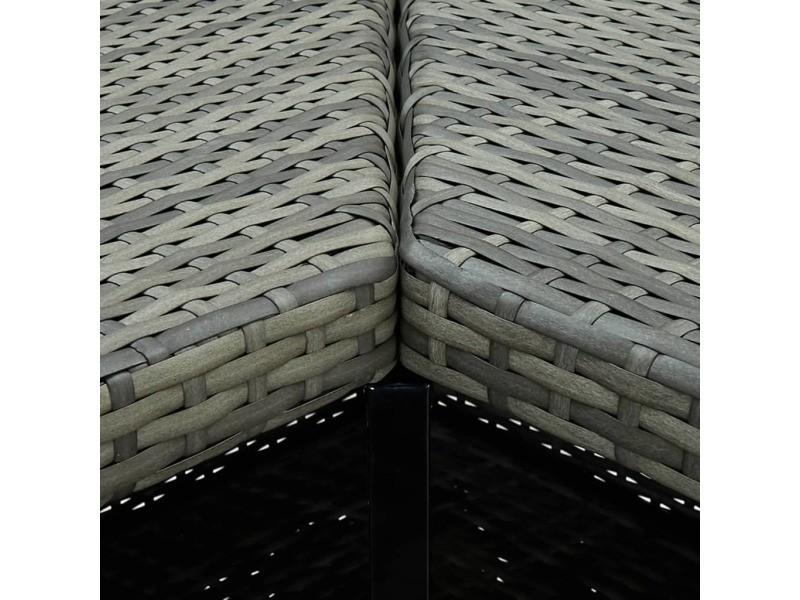 Vidaxl table d'angle de bar gris 100x50x105 cm résine tressée 313482