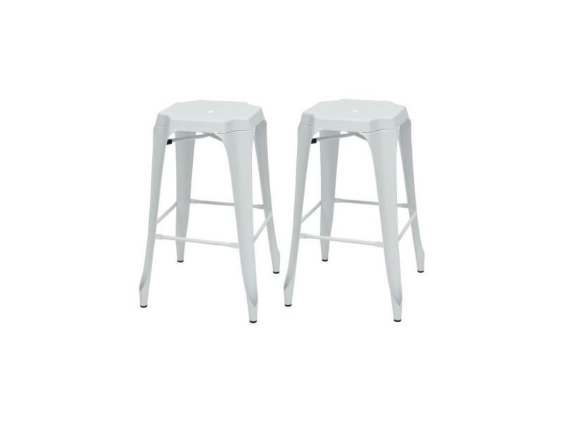 Kraft mary lot de 2 tabourets de bar - métal blanc mat - style industriel - l 47 x p 47 cm