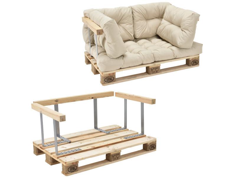 [en.casa] canapé de palette euro- 2-siège avec coussins- [crème] kit complète incl. Dossier et appuie-bras
