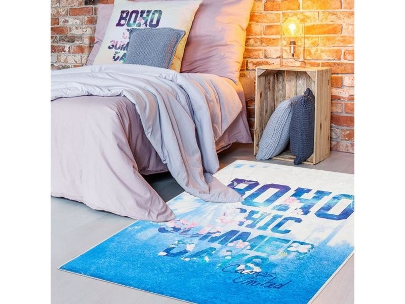 Tapis chambre adolescent boho camps bleu, blanc rose 60 x 90 ...
