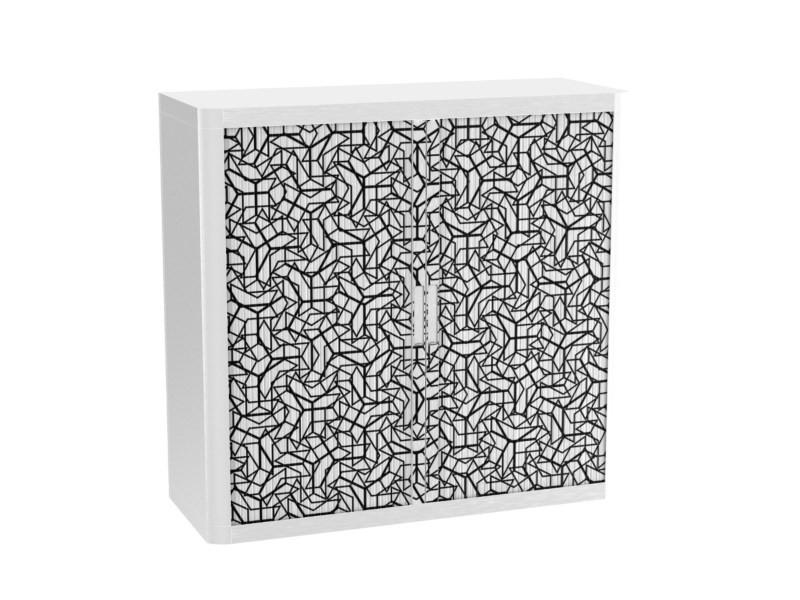 Armoire de bureau métalique porte coulissante h 1m - damier triangulaire
