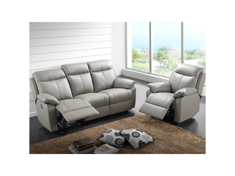 Canapé 3p relax + fauteuil électrique cuir gris - vyctoire - l 201 x l 95 x h 101 - neuf