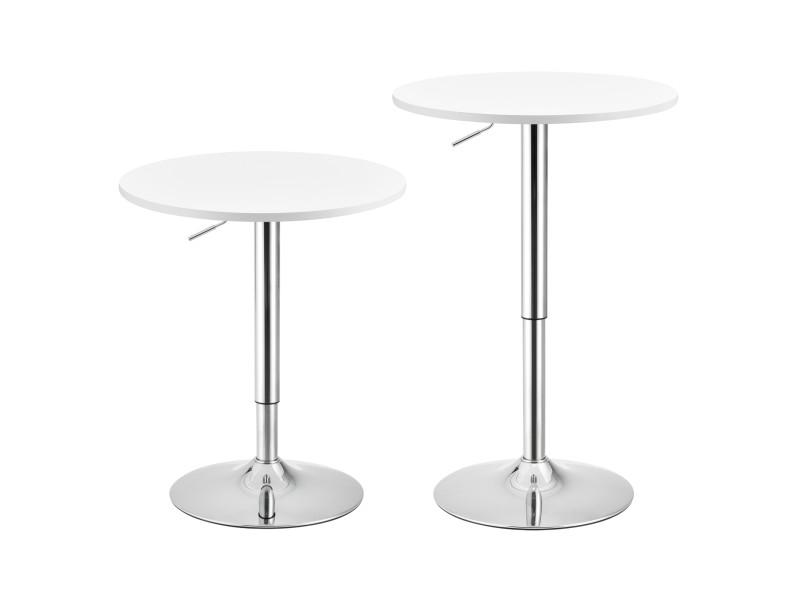 Table de bar ronde bistrot design robuste à hauteur réglable mdf chrome diamètre 60 cm blanc [en.casa]