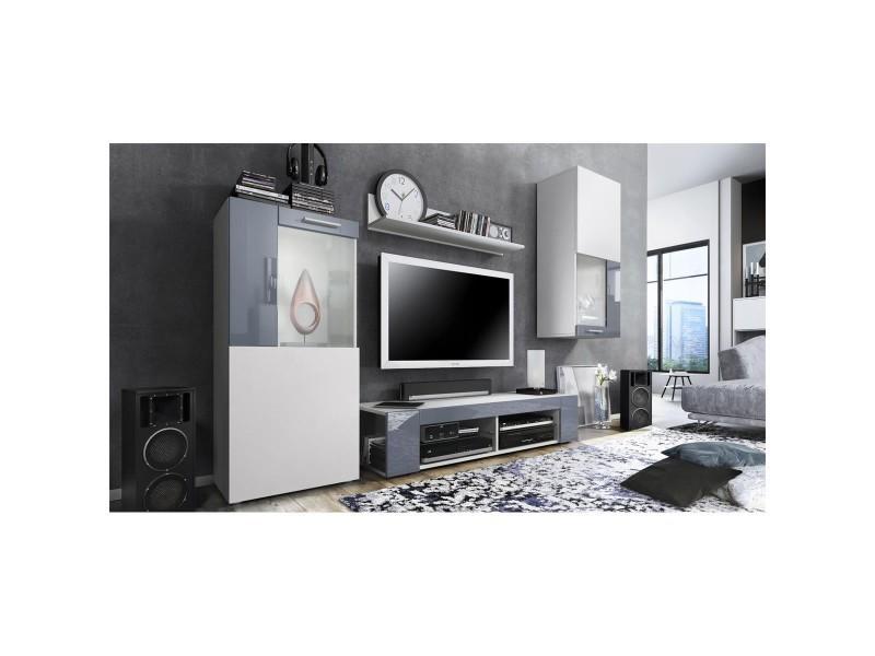 Ensemble de meubles de salon en blanc et gris leds bleus