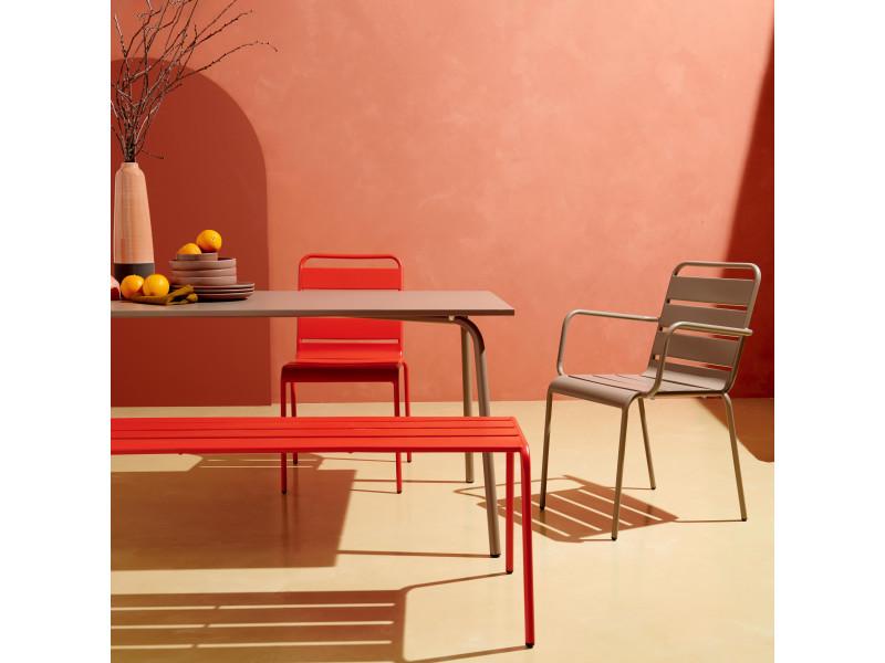 Table de jardin carrée et 8 fauteuils en métal, palavas ...