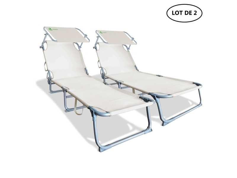 Transat chaise longue extérieur jardin dossier réglable coussin pare-soleil vert