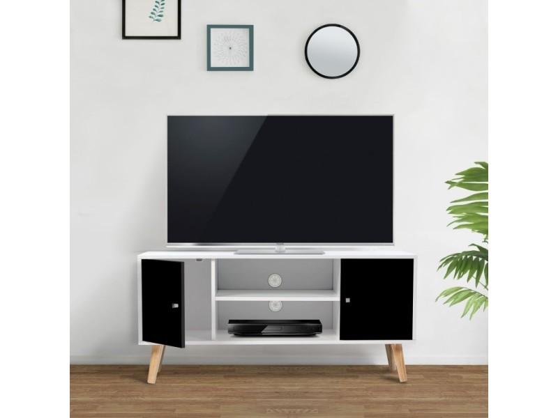Meuble Tv Effie Scandinave Bois Blanc Et Noir Vente De Id Market