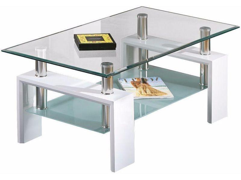 dc1cc5ad5305d2 Table basse design verre et blanc p-2244-co diamanté - Vente de Table basse  - Conforama
