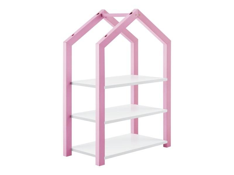 Étagère design forme maison bibliothèque pour enfants bois de pin mdf 85 cm rose blanc helloshop26 03_0005180