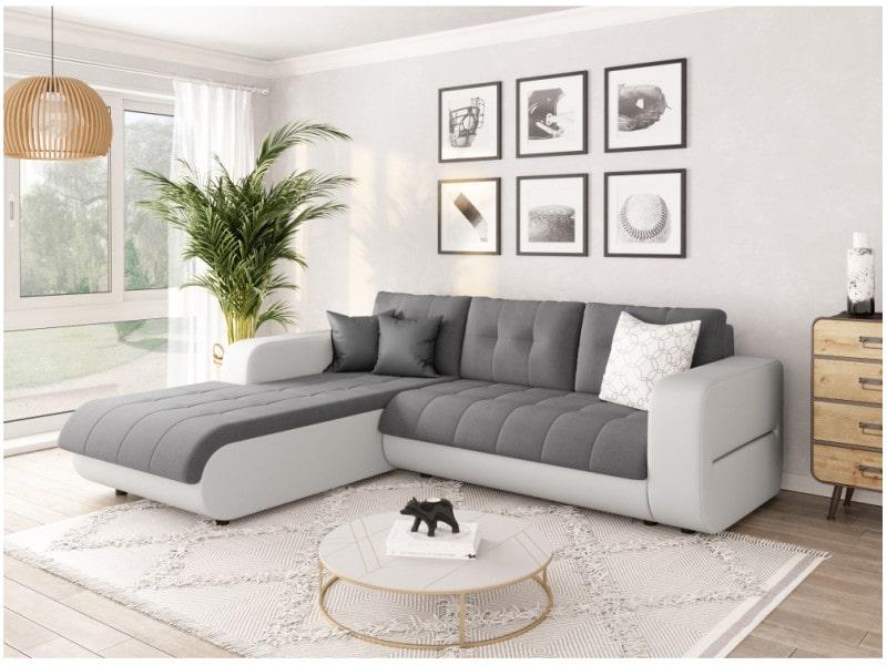 Canapé d'angle suzie convertible en simili et microfibre blanc / gris - angle - gauche