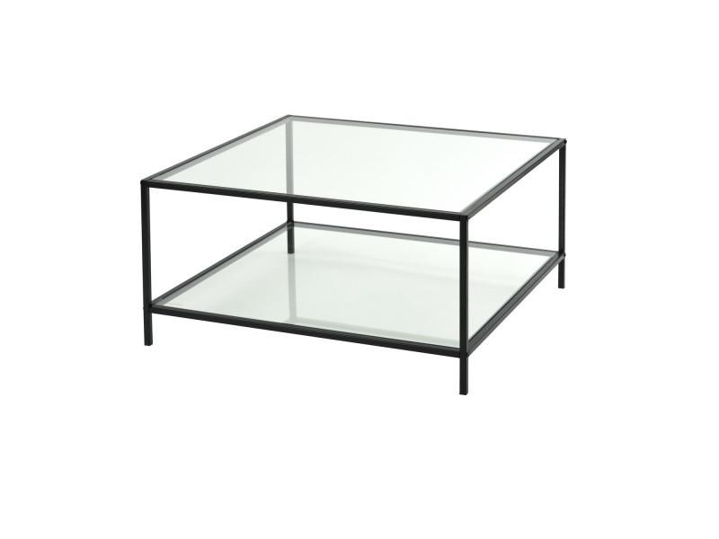 Table basse carr e 80cm verre m tal noir vente de Table basse metal noir