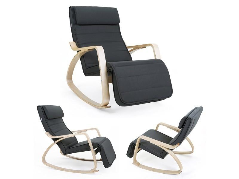 rocking chair fauteuil relax avec repose pieds r glable 5 niveaux design charge maximum 150. Black Bedroom Furniture Sets. Home Design Ideas
