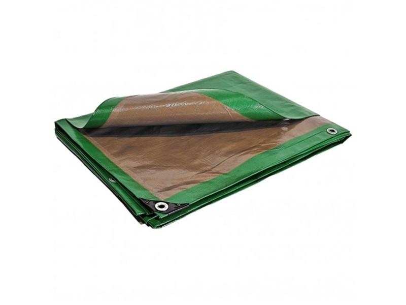 Bâche plastique 10x15 m étanche traitée anti uv verte et marron 250g/m² pe haute densité