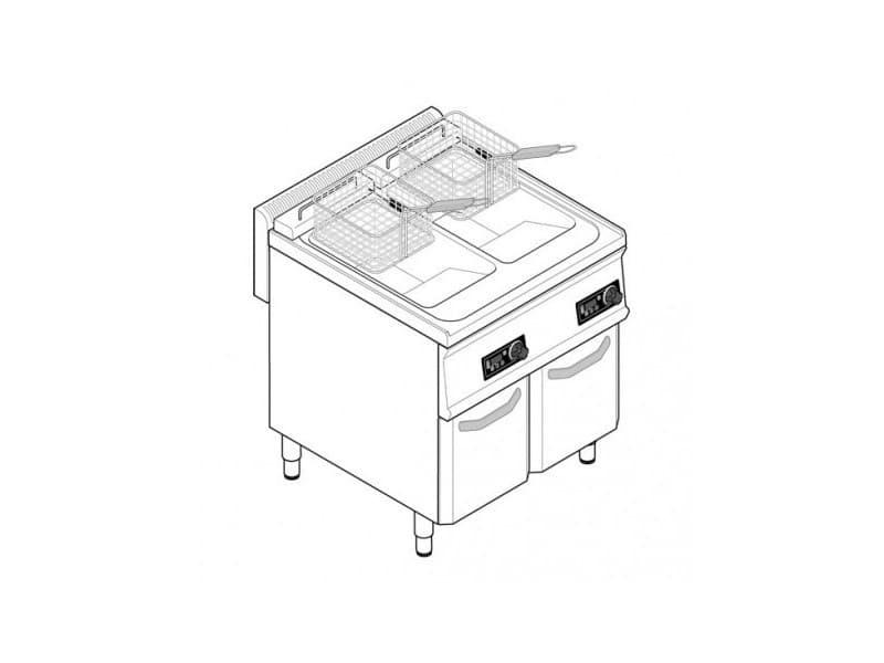 Friteuse sur coffre électrique - 2 x 14 litres - commandes électroniques - gamme 700 - tecnoinox -