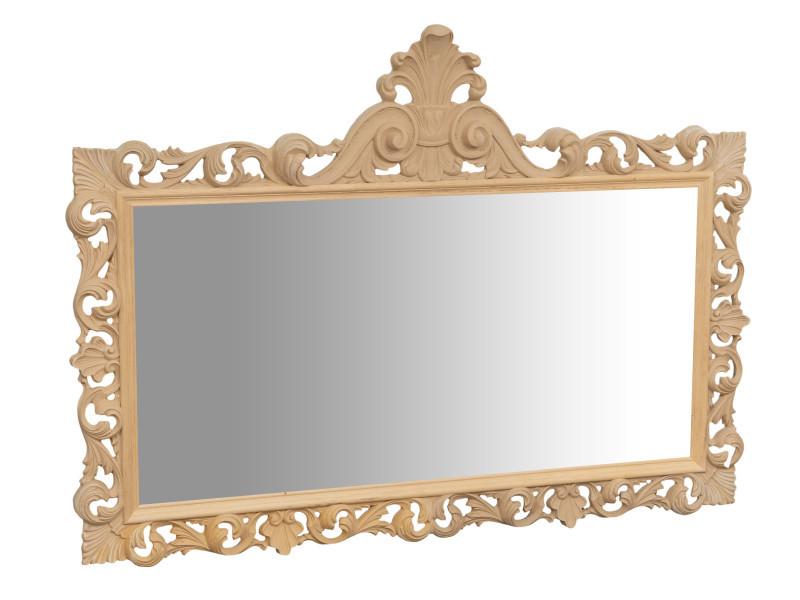Miroir, long miroir mural rectangulaire, à accrocher au mur, horizontal et vertical, shabby chic, salle de bain, chambre à coucher, cadre finition brute, grand, long, l150xp8xh110 cm. Style shabby chic.