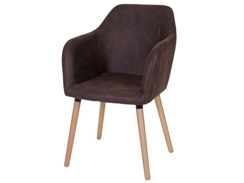 Chaise de séjour / salle à manger malmö t381, style rétro des années 50 ~ tissu, vintage marron foncé