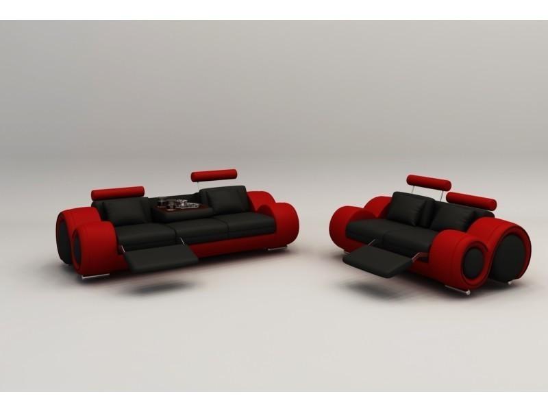 Ensemble cuir relax oslo 3+2 places design noir et rouge-