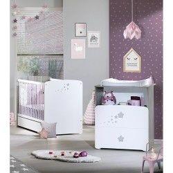Chambre duo lit bébé 120x60 - commode 2 tiroirs et une niche nao babyprice