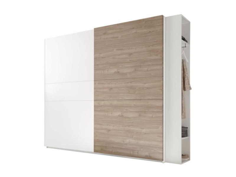 Armoire 2 portes coulissantes blanc/noyer clair - aniece n°1 - l 275 x l 64 x h 248 - neuf