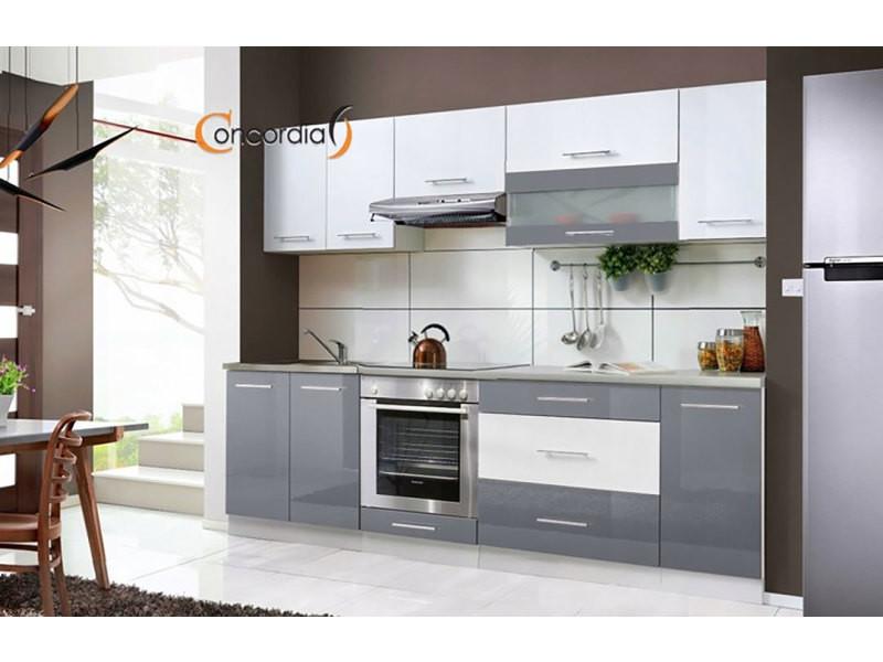 Elm 260 - cuisine complète l 2,6m - 8 pcs + plan de travail inclus - ensemble meubles cuisine linéaire + armoire four encastrable - gris/blanc