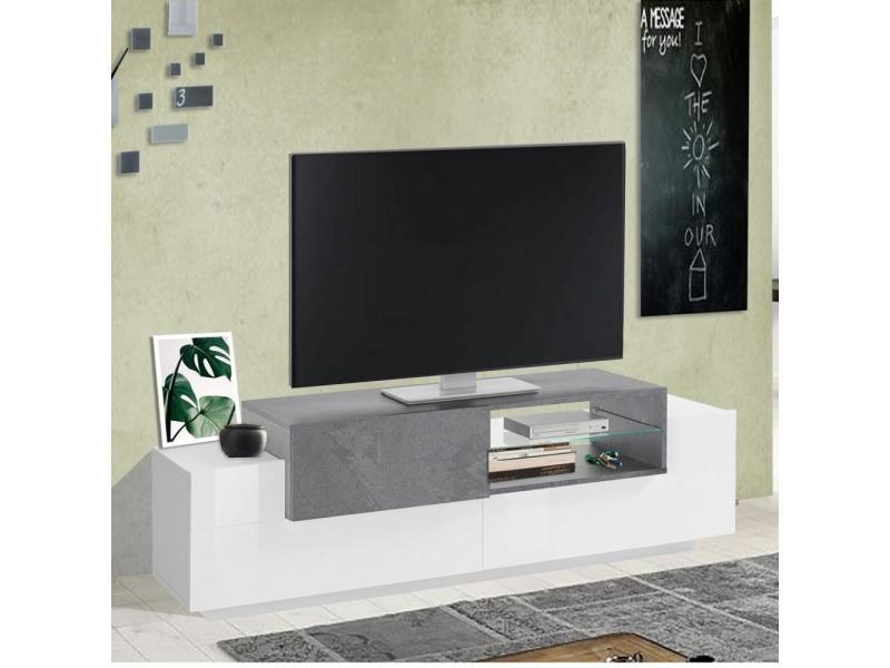 Meuble tv bi-color design coro 160 cm laqué blanc brillant/bois gris ardoise 20100893111