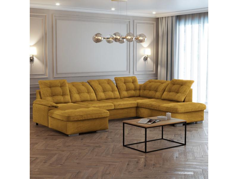 Canapé panoramique gauche- jamaal - tissu moutarde