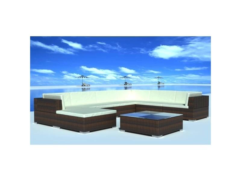 Admirable meubles de jardin edition san salvador jeu de meuble de jardin 24 pcs marron résine tressée