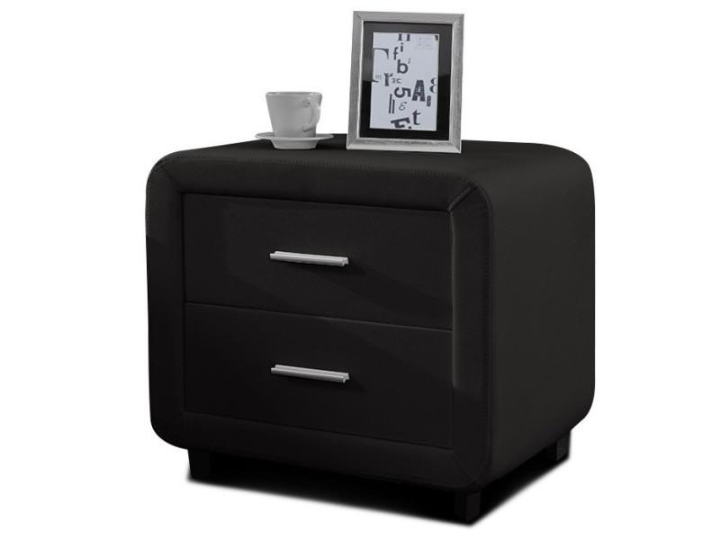 Table chevet design en simili cuir zest - noir