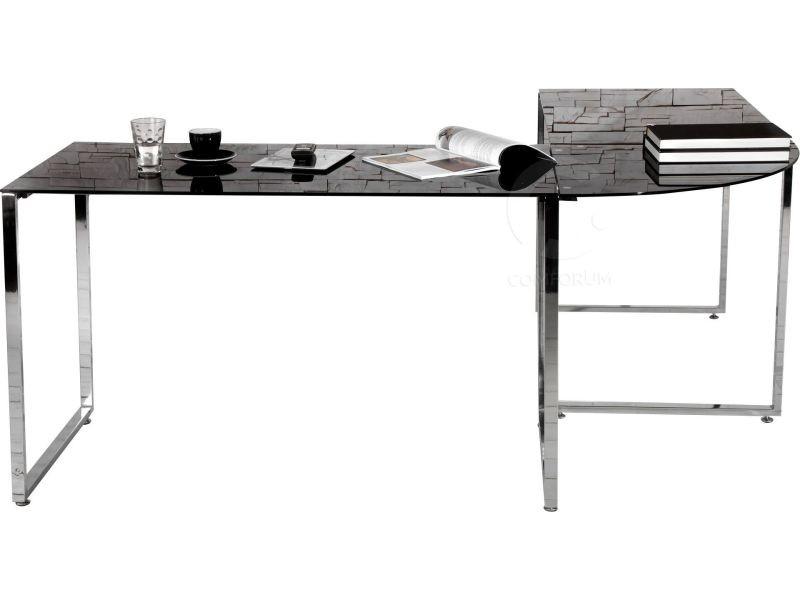 Bureau dangle design noir en verre et métal chromé 180 cm. conforama