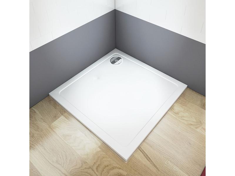 Aica receveur de douche extra plat 80x80x3cm carré avec le bonde