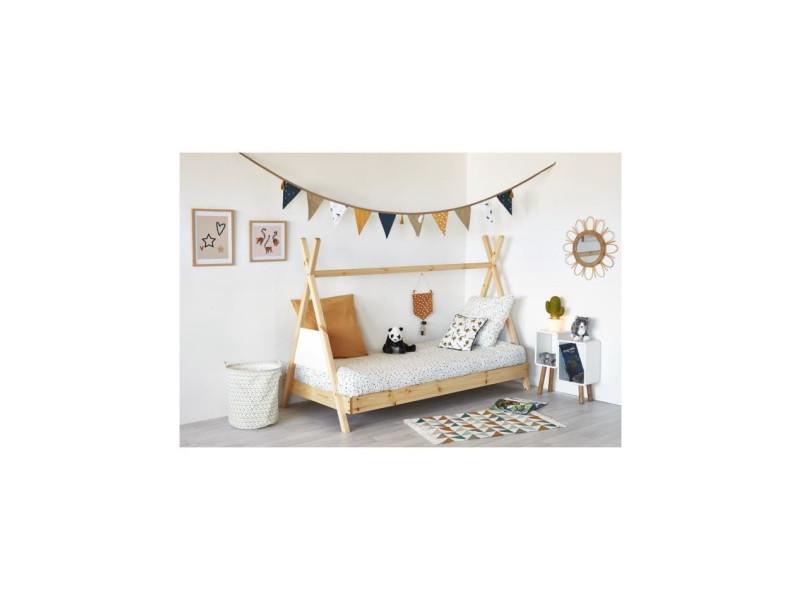 Amarok lit tipi enfant - bois pin massif - blanc/naturel - sommier inclus - 90 x 190 cm 36141NB