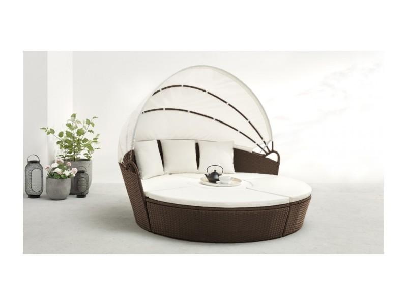 Salon de jardin monaco modulable 6 à 8 places marron LS-R-521 BRO/WH ...